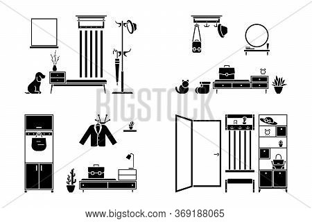 Apartment Hallway Design Vector Illustration Icon Set. Foyer Entrance Black And White Cut Out Flat S