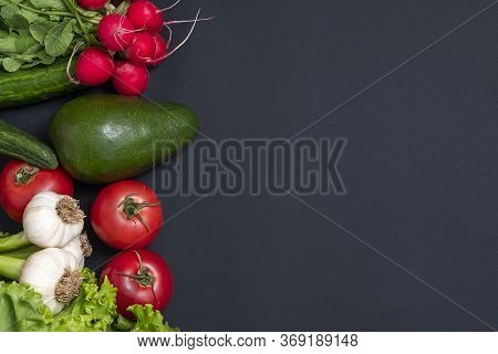 Fresh Vegetarian Background. Top View Of Alkaline Foods