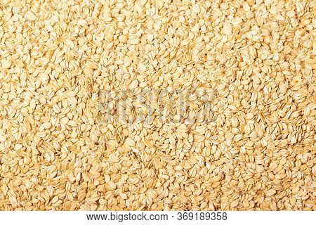 Background Of Raw Oat Flakes Cereals From Above