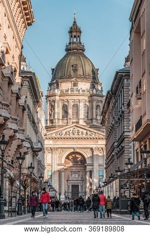Budapest, Hungary - Feb 8, 2020: Hustling Street View Of St. Ste