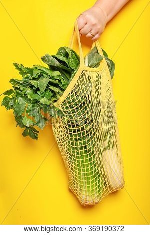 Mesh Cotton Bag To Go Shopping For Caring For The Environment And The Rejection Of Plastic