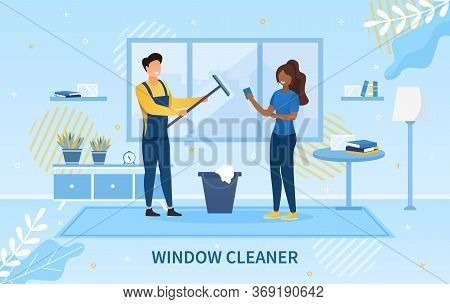 Young Window Cleaner With His Squeegee And Pail Indoors With A Young Black Housewife With Text Below