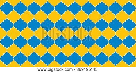 Eid Mubarak Islam Decoration. Ramadan Traditional Mosque Golden Tile. Seamless Moroccan Pattern Seam