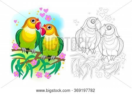 Fantasy Illustration Of Couple Of Romantic Parrots Lovebirds. Colorful And Black And White Page For
