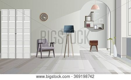 Illustration Of A Room With Stool, Lamp, Commode And Cupboard. Interior Of The Room With Furniture.