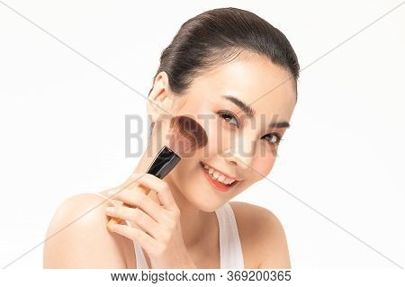 Eauty Asian Woman  Brown Hair Looking Smile In Camera Happiness And Hold Make Up Brush  And Cheerful