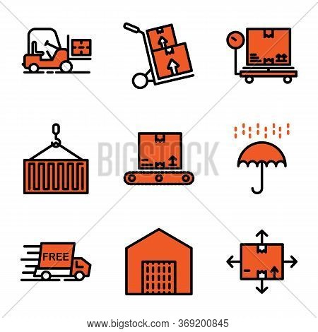 Delivery Icon Set Including Forklift,logistic,vehicle,cargo,delivery,box, Scale,package,crane,contai