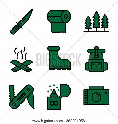 Camping Icon Set Including Knife,cam,survive,adventure,tissue, Camp,trees,camping,fire,bonfire, Shoe