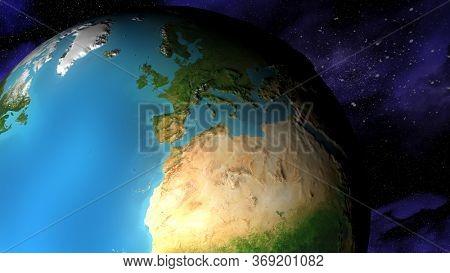 3d render of world map