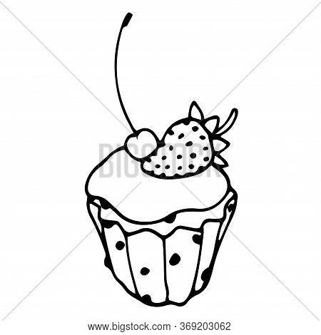 Cupcake With Strawberries, Cherries, Raisins, Icing And Cream, Festive Dessert, Vector Illustration