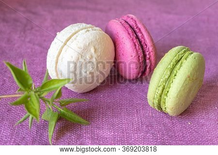 Multi-colored Macaroons And Green Is A Young Branch Of Lilac On A Linen Napkin. Mcarons Or Macaroons