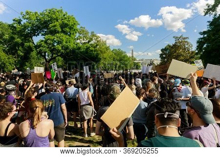 Washington D.c., Usa - May 31, 2020: Protest After George Floyd Death, Black Lives Matter Group Stan
