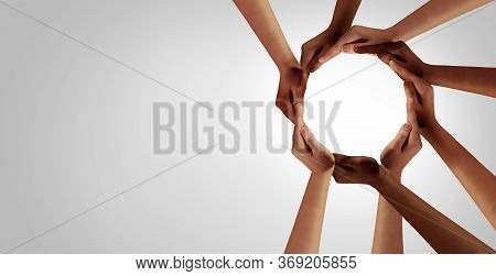 Business Unity And Diversity Partnership As Hands In A Group Of Diverse People Connected Together Sh
