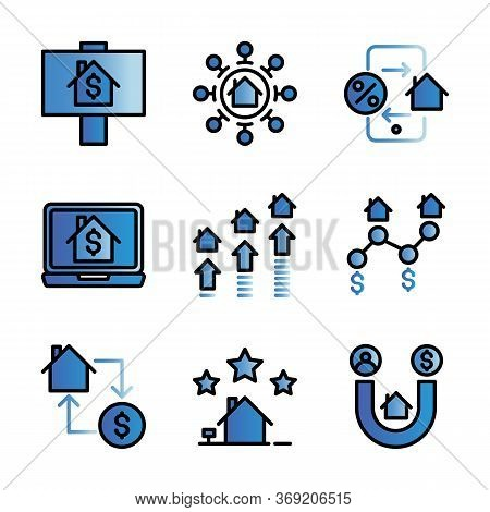 Marketing Real Estate Icon Set Include For Sale,strategy,promotion,laptop,infestation,change,achieve
