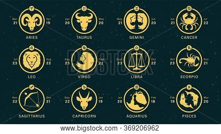 Detailed Flat Vector Set Of The Zodiac Horoscopes As Golden Icons On Top Of A Dim Semi-accurate Star