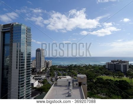 Honolulu -  May 8, 2016: Aerial Of Pacific Ocean, Fort De Russy, The Ritz-carlton Residences, Iconic