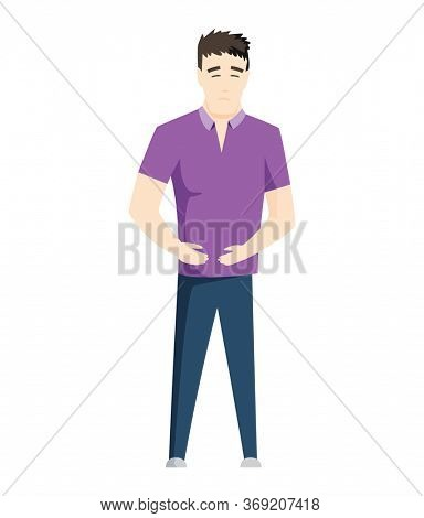 Man having stomachache symptoms of appendicitis with large, small intestine and appendix. Young man clutched his stomach. Abdominal pain. Appendix disease, emergency case