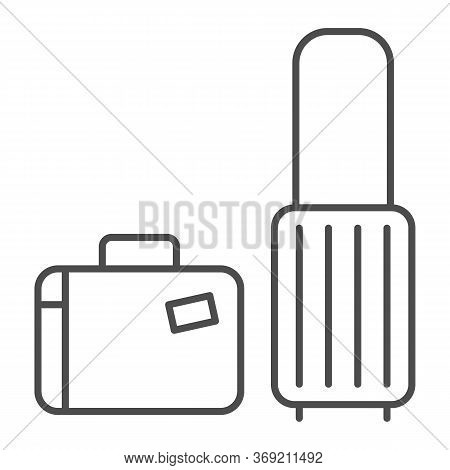 Travel Suitcases Thin Line Icon, Luggage Concept, Traveling Suitcase Sign On White Background, Set O