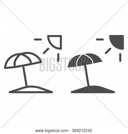 Summer Beach With Umbrella And Sun Line And Solid Icon, Summer Concept, Beach Parasol Sign On White