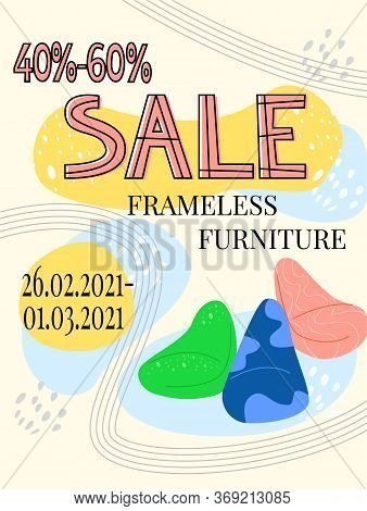 Vector Flat Illustration Billboard, Poster, Sales Signage, Discount Chairs, Bags, Ottomans. Concept