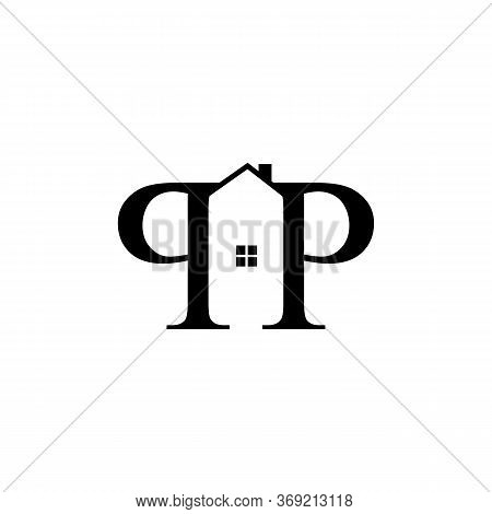 Letter P&p Realty House Property Typography Logo Vector Design Isolated On A White Background