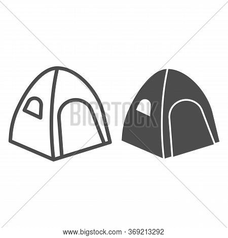 Tent Line And Solid Icon, Summer Vacation Concept, Tourist Tent Sign On White Background, Camping Te
