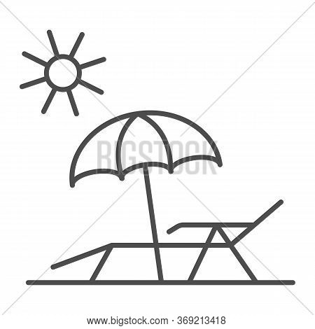 Chaise Lounge On Beach Thin Line Icon, Summer Concept, Deck Chair With Umbrella Sign On White Backgr