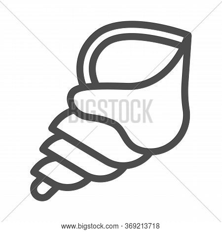 Seashell Line Icon, Nautical Concept, Spiral Ocean Shell Sign On White Background, Horn Shaped Seash