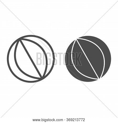 Beach Ball Line And Solid Icon, Summer Vacation Concept, Rubber Beachball Sign On White Background,