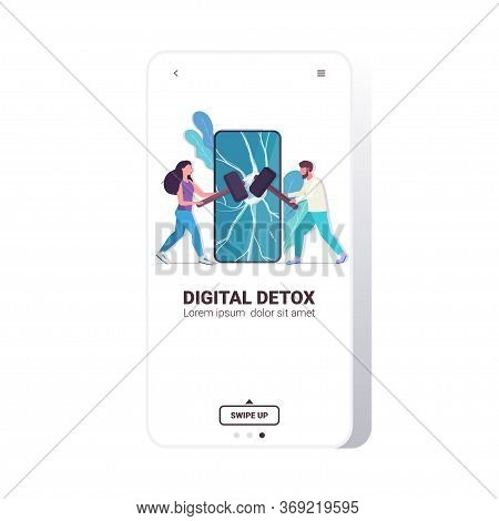 Couple Hitting Smartphone Screen With Hammers Digital Detox Rest From Devices Concept Man Woman Aban