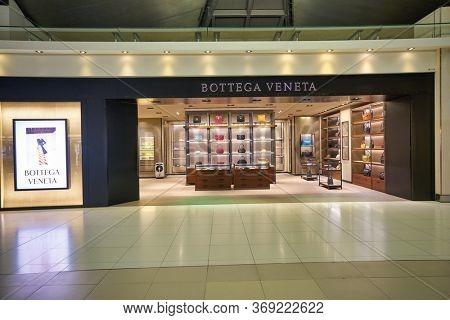 BANGKOK, THAILAND - CIRCA JANUARY, 2020: Bottega Veneta storefront in Suvarnabhumi Airport.