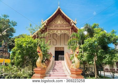 Beautiful Viharn Of Wat Ngam Muang Temple An Important Temple On The Small Hill In Chiang Rai Provin