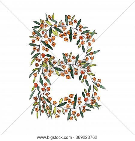 Letter B Of The English And Latin Floral Alphabet. Graphic On A White Background. Letter B Of Sprigs
