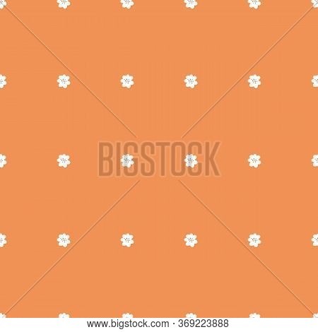 Tiny White Flowers On Orange Background. Seamless Tiny Vintage Flower Pattern. Repeating Flowers On