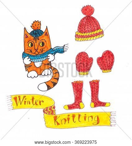 Graphic Color Drawing Set Of A Red Ginger Cat In A Knitted Blue Scarf And Knitted Hat, Knitted Hat,