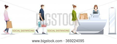 Social Distancing Isolated On White Background. Buyers In Medical Masks With Baskets Near Cashier De