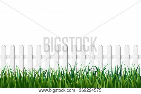 White Fence And Fresh Green Grass Seamless Vector Background. Endless Wooden Fence And Green Lawn Is