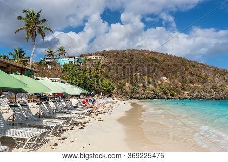 Coki Point, St. Thomas, United States V. Islands (usvi) - April 30, 2019: People Relax On The Coki P