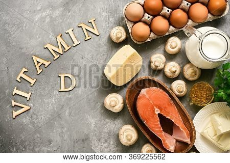 Food Rich In Vitamin D. Products High In Vitamin D. Top View, Flat Lay, Lettering