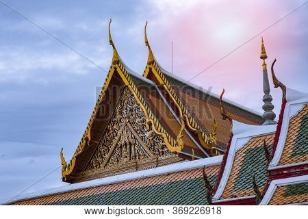 The Temple Roof Is Beautiful. The Thai Art Pattern.
