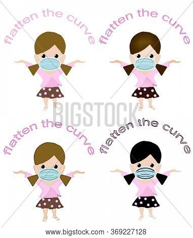 School girl in mask with Flatten the Curve text above head. Set of 4 different illustration styles created in photoshop.