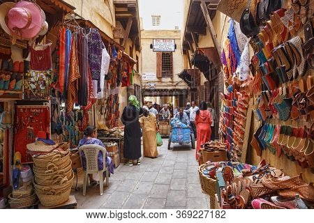 Fez, Morocco - May 31, 2017: View Of The Market In Medina Quarter Of Fez. The Medina Of Fez Is Liste