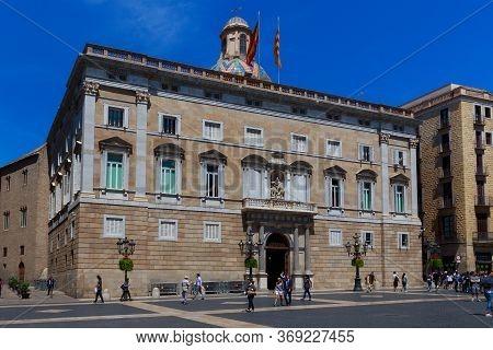 Barcelona, Spain - May 15, 2017: View Of The Palau De La Generalitat De Catalunya. Is A Historic Pal