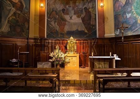 Barcelona, Spain - May 16, 2017: One Of The Chapels Of The Catholic Church Of Our Lady Of Bethlehem