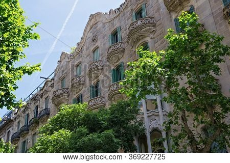 Barcelona, Spain - May 16, 2017: View Of The Famous Casa Manuel Felip Building. Is A Modernist Build