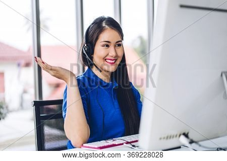 Beautiful Happy Call Center Smiling Asian Businesswoman Operator Customer Support Consult Phone Serv