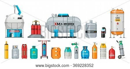 Set Of Vector Gas Cylinder. Cylindrical Container With Liquefied Compressed Gases With High Pressure