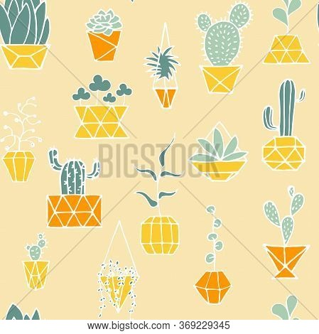 Doodle Plant In Faceted Pot Seamless Pattern. Hand Drawn Leaves, Succulents, Cactus With Poly Yellow