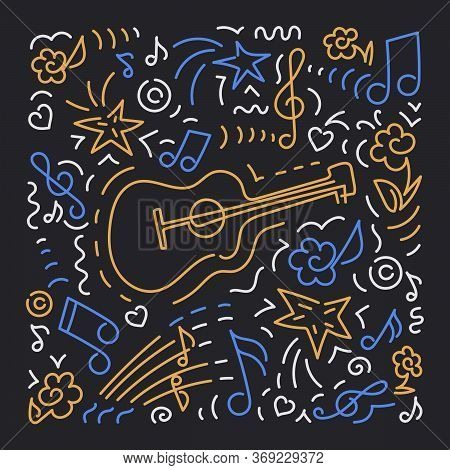 Doodle Vector Background, Acoustic Guitar. Poster Music Concert, Festival