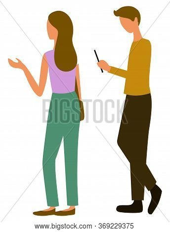 Woman And Man Back View Of Characters Vector, Isolated Couple At Shopping. Male Looking At Screen Of